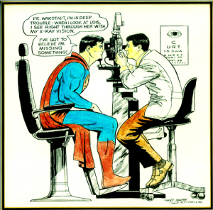 superman getting an eye exam